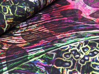 Jersey Digitaldruck Stenzo PANEL ca. 150 x 150 cm - Federn und Animalprint - lila/pink