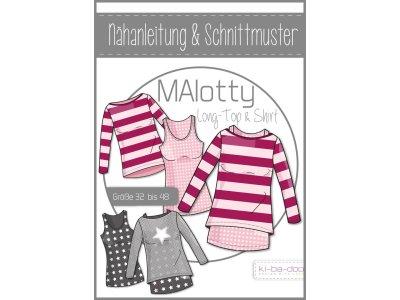 Papierschnittmuster ki-ba-doo MAlotty Doppelshirt Long-Top & Shirt Damen