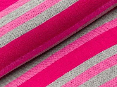 Strickstoff - Streifen - rosa/meliert grau