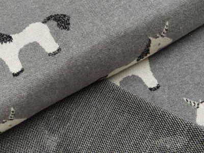 Jacquard-Jersey mit Lurexglitzer - Einhörner - meliert grau