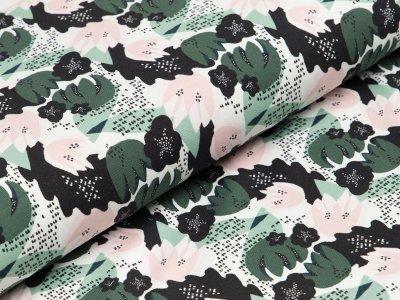 Jersey - Kaktusblüten - weiß/grün/rosa