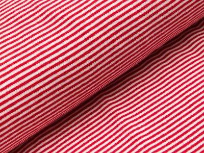 Glattes Bündchen im Schlauch - schmale Streifen - rot/weiß