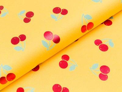 Jersey mit Foliendruck - Kirschen - gelb