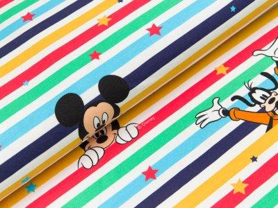Disney-Jersey - Micky Mouse & Co. auf Streifen - bunt