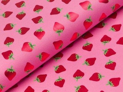 Jersey mit Foliendruck - Erdbeeren - rosa