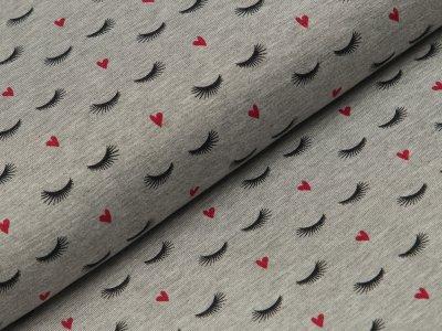 Seidiger Viskose Jersey - Herzen und Wimpern - meliert grau