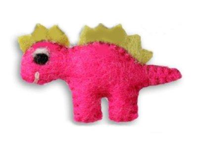Filz-Applikation Jim-Knopf Dino Pinky pink mit grünen Zacken