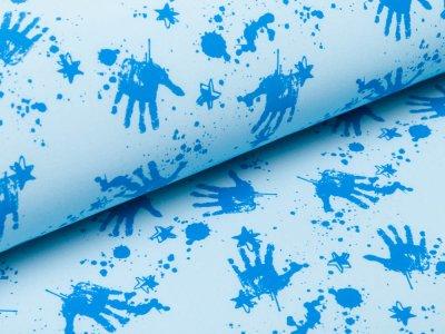 Softshell  Jackenstoff - Handabdrücke und Sterne - helles blau