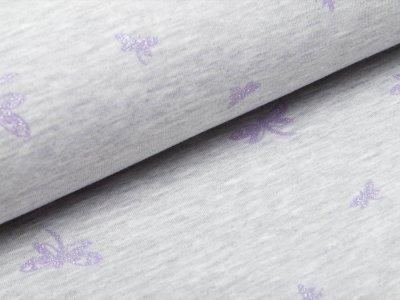 Jersey Doubleface mit Glitzer - Libellen - meliert grau/lila