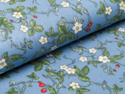 Musselin Baumwolle Double Gauze - Erdbeerblüten - blau