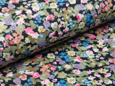 Musselin Baumwolle Double Gauze - Blumenwiese - schwarz