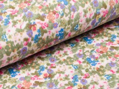 Musselin Baumwolle Double Gauze - Blumenwiese - rosa