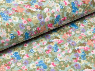 Musselin Baumwolle Double Gauze - Blumenwiese - mint