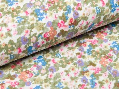 Musselin Baumwolle Double Gauze - Blumenwiese - weiß