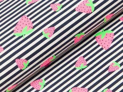Jersey - Erdbeeren auf schmalen Streifen - weiß/schwarz