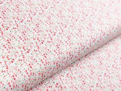 Webware Viskose - Blumen - weiß/rot