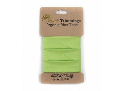 Popeline Organic Cotton Schrägband/Einfassband gefalzt 20 mm Breit x 5 Meter Coupon - uni lime