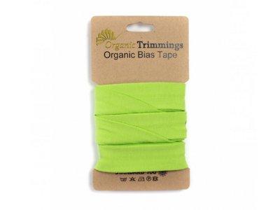 Jersey Organic Cotton Schrägband/Einfassband gefalzt 20 mm Breit x 3 Meter Coupon - uni lime