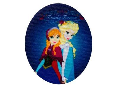Applikation zum Aufbügeln 2 Stück Disney-Frozen - Anna und Elsa - denimblau