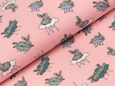 Jersey - Hasen auf Wolken - rosa