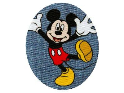 Applikation zum Aufbügeln in Jeansoptik 2 Stück Disney-Mickey Mouse - fröhlicher Mickey - blau