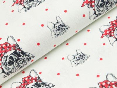 Canvas bedruckt - Fräulein von Julie - Punkte/Französische Bulldogen - weiß