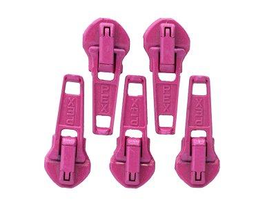 Slider/Zipper/Automatikschieber für Reißverschlüsse Größe 5 - Set 5 Stück - pink