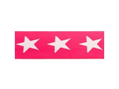 Gummiband ca. 40 mm - Sterne - pink