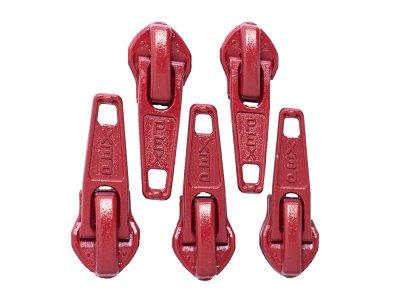 Slider/Zipper/Automatikschieber für Reißverschlüsse Größe 5 - Set 5 Stück - rot