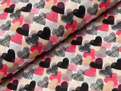 Jersey Organic Cotton - Herzen - weiß  pink/beige/schwarz