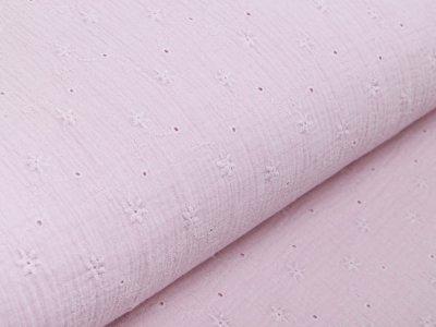 Musselin Baumwolle Double Gauze mit Lochstickerei Broderie - Sternblumen - rosa