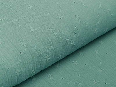 Musselin Baumwolle Double Gauze mit Lochstickerei Broderie - Sternblumen - dunkles mint