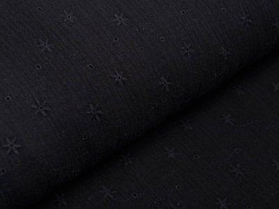 Musselin Baumwolle Double Gauze mit Lochstickerei Broderie - Sternblumen - schwarz