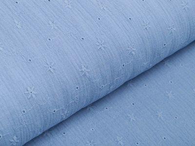 Musselin Baumwolle Double Gauze mit Lochstickerei Broderie - Sternblumen - jeansblau