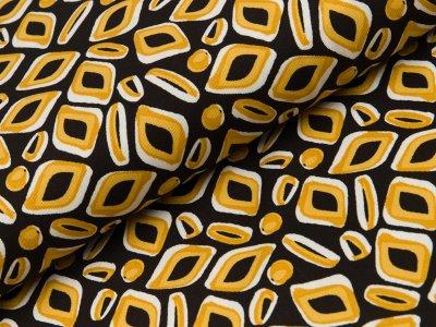 Viskose Twill - Retro-Muster - schwarz/gelb