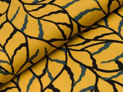 Viskose Twill - große Blätter - gelb