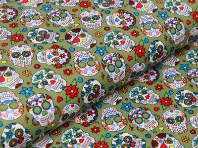 Webware Baumwolle Popeline - große geblümte Totenköpfe - grün