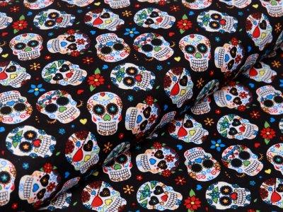 Webware Baumwolle Popeline - große geblümte Totenköpfe - schwarz