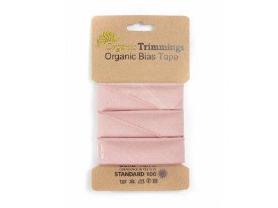 Popeline Organic Cotton Schrägband/Einfassband gefalzt 20 mm Breit x 5 Meter Coupon - uni puderrosa