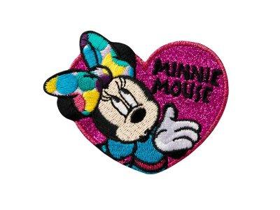 Applikation mit Glitzer zum Aufbügeln Disney-Mickey Mouse - Minnie im Herz - pink
