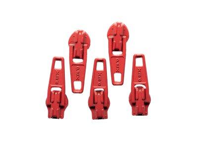 Slider / Zipper / Automatikschieber für Reißverschlüsse Größe 3 - Set 5 Stück rot