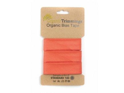 Popeline Organic Cotton Schrägband/Einfassband gefalzt 20 mm Breit x 5 Meter Coupon - uni peach