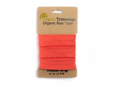 Jersey Organic Cotton Schrägband/Einfassband gefalzt 20 mm Breit x 3 Meter Coupon - uni coral