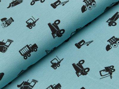 Angerauter Sweat - Baufahrzeuge - blau