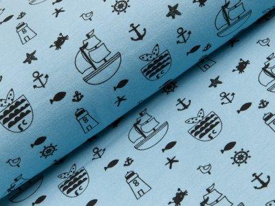 Angerauter Sweat - Segelschiffe und maritime Motive - blau