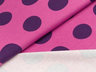 Sweat French Terry - große unregelmäßige Punkte - rosa/lila