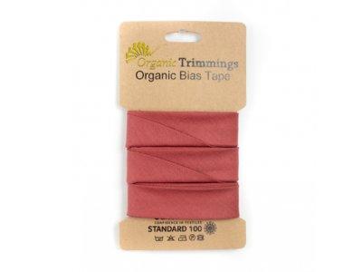 Popeline Organic Cotton Schrägband/Einfassband gefalzt 20 mm Breit x 5 Meter Coupon - uni terrakotta