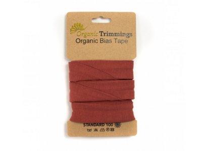 Jersey Organic Cotton Schrägband/Einfassband gefalzt 20 mm Breit x 3 Meter Coupon - uni terrakotta