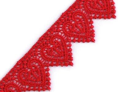 Romantische Ätzspitze 35 mm - Herz-Muster - rot