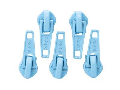 Slider/Zipper/Automatikschieber für Reißverschlüsse Größe 5 - Set 5 Stück - helles blau